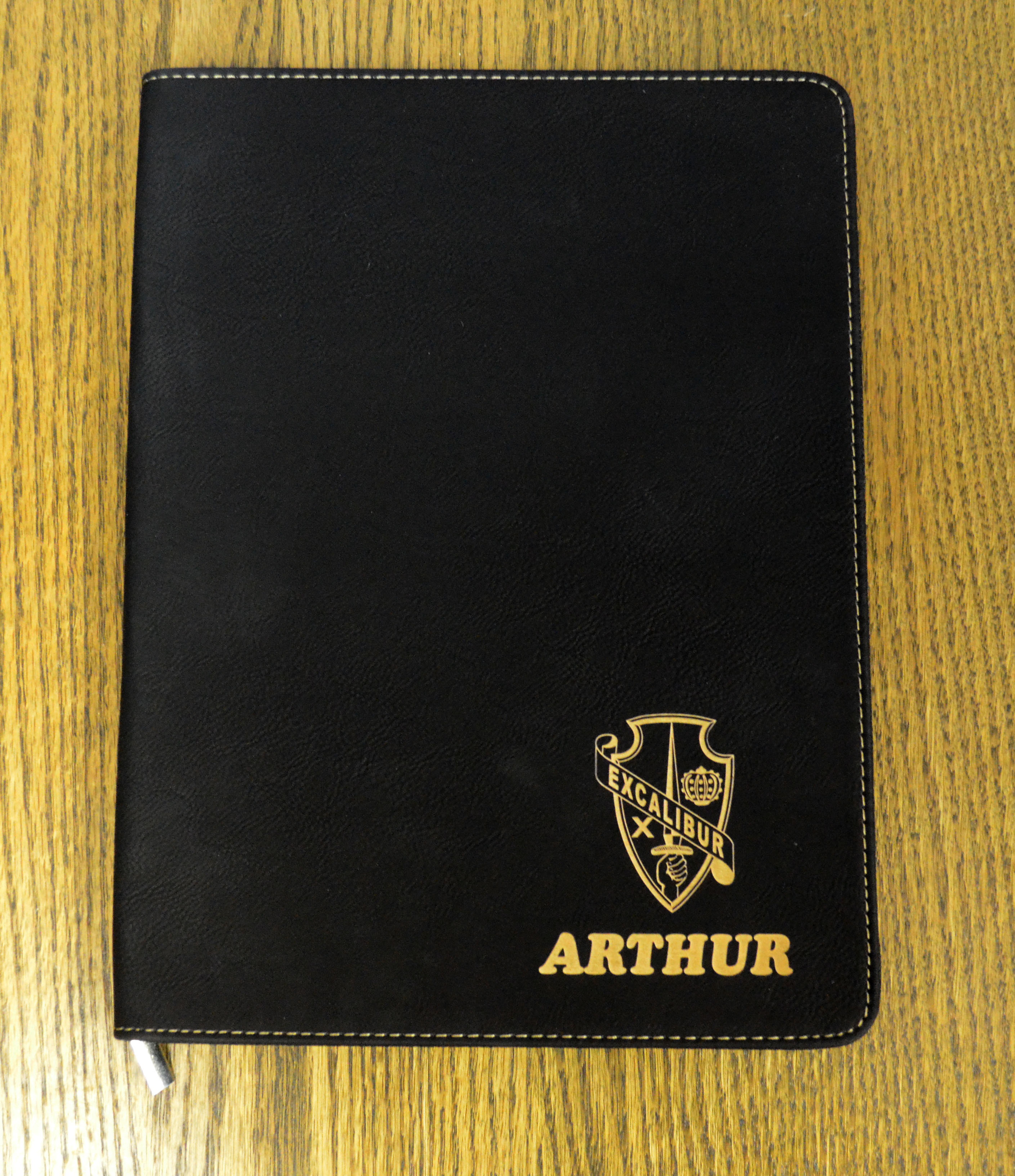 Black Gold Leatherette Portfolio With Zipper Awards